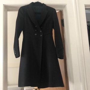 Zara double breasted fit and flare black coat